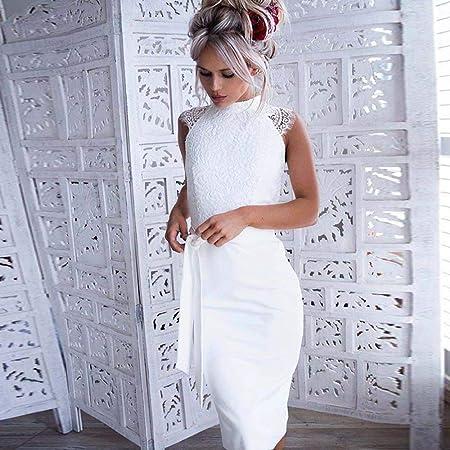 riou Vestidos Verano para Mujer De Cóctel Bohemios Delgado de Encaje sin Mangas Vestido Princesa con cinturón Dama de Honor Sexy y Elegante Verano de Novia Fiesta Vestido