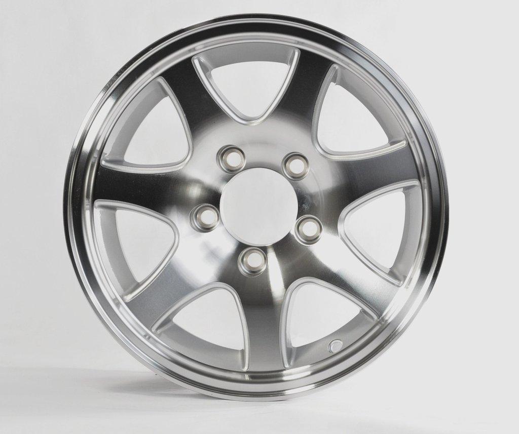 TWO (2) Aluminum Sendel Trailer Rims Wheels 5 Lug 13'' T02 7-Spoke Style