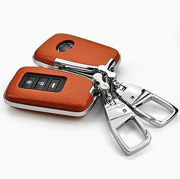 Ontto Smart 2 3 4 Tasten Autoschlüssel Hülle Auto Schlüssel Abdeckung Tasche Echtes Leder Abs Schlüsselschutz Mit Schlüsselanhänger Für Lexus Is Gs Rx Es Nx Ls Rc Lx Keyless Go Schutz Orange Auto