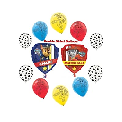 Paw Patrol Chase & Marshall 11pc Birthday Party Balloon Bouquet: Toys & Games