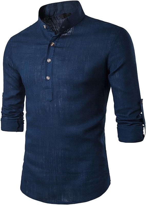 OHQ Camisa De Blusa De Hombre Botones De Tela De Lino De AlgodóN para Hombres Azul Negro Rojo Blanco Armada Beige Hombre Estar Cuello De Manga Larga Camisas De Lino Blusas Tops