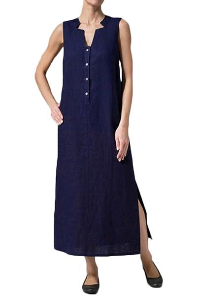 Yacun Camiseta Mujer Sin Mangas Vestido Casual Vestidos Sueltos De Tanque: Amazon.es: Ropa y accesorios