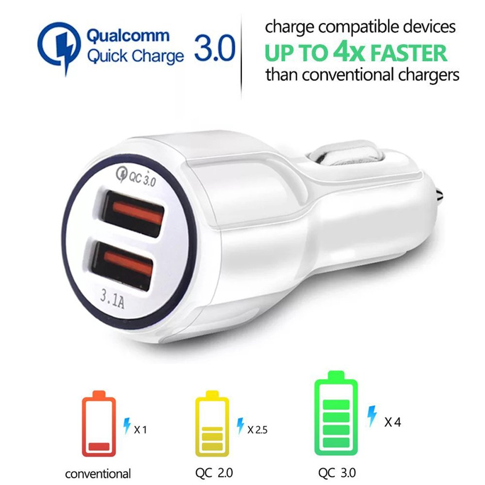 SDBAUX Car Charger(2-Pack), Quick Charge 3.0 Adapter,Dual USB Ports 6A/35W,Compatible with Samsung Galaxy S9 S8 S7,Note 8,LG V30 G6 Nexus 7 6 HTC Moto ...