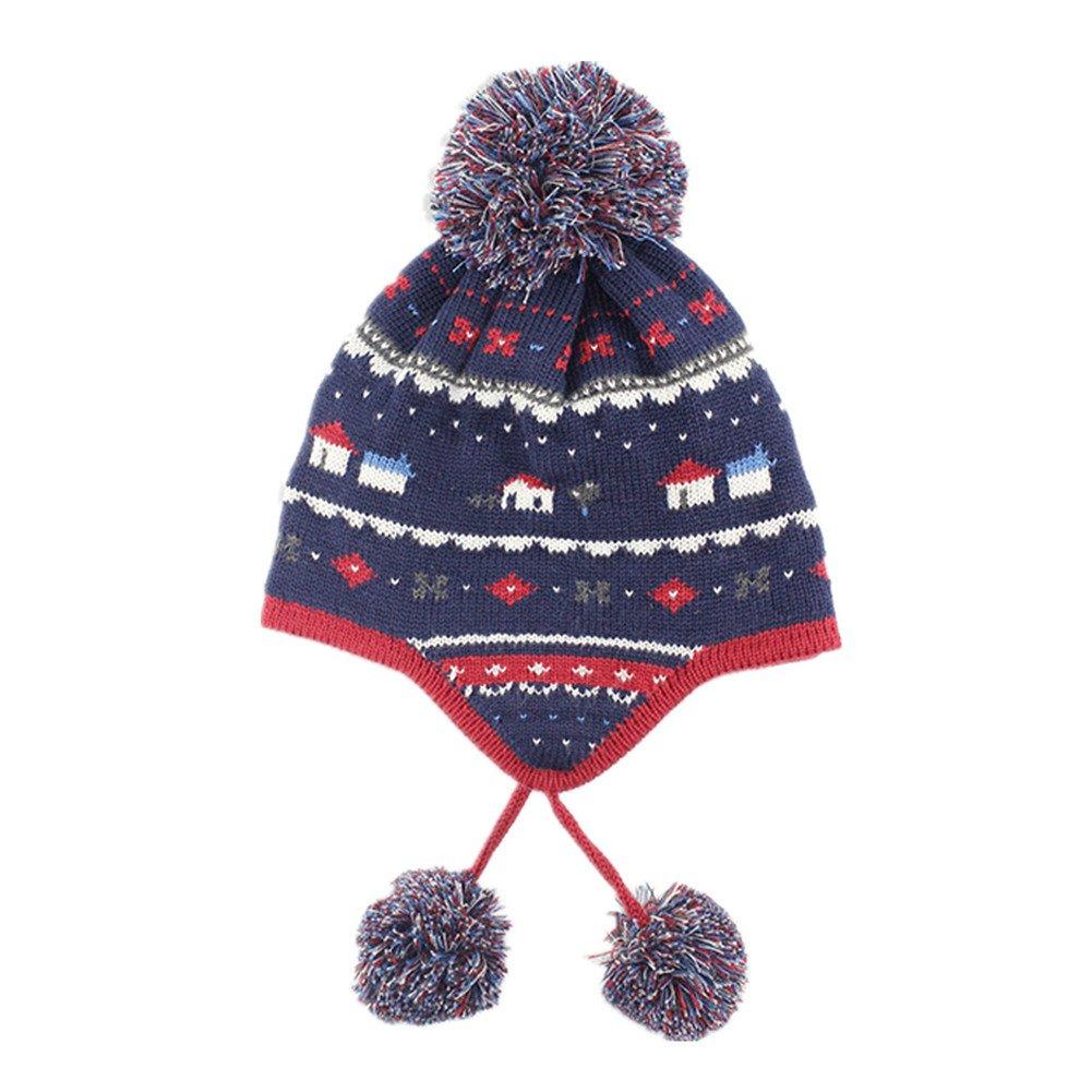 0969781fdbe LifenewBaby Baby Cotton Ear Flap Cap Knitted Pom Pom Hat Warm Double-layer  Crochet Hat Unisex Toddler Kids Children Autumn Winter Spring-Houses Navy  Blue