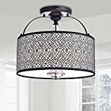 Amalia Antique Black Finish Metal Drum Shade Flush Mount Chandelier For Sale
