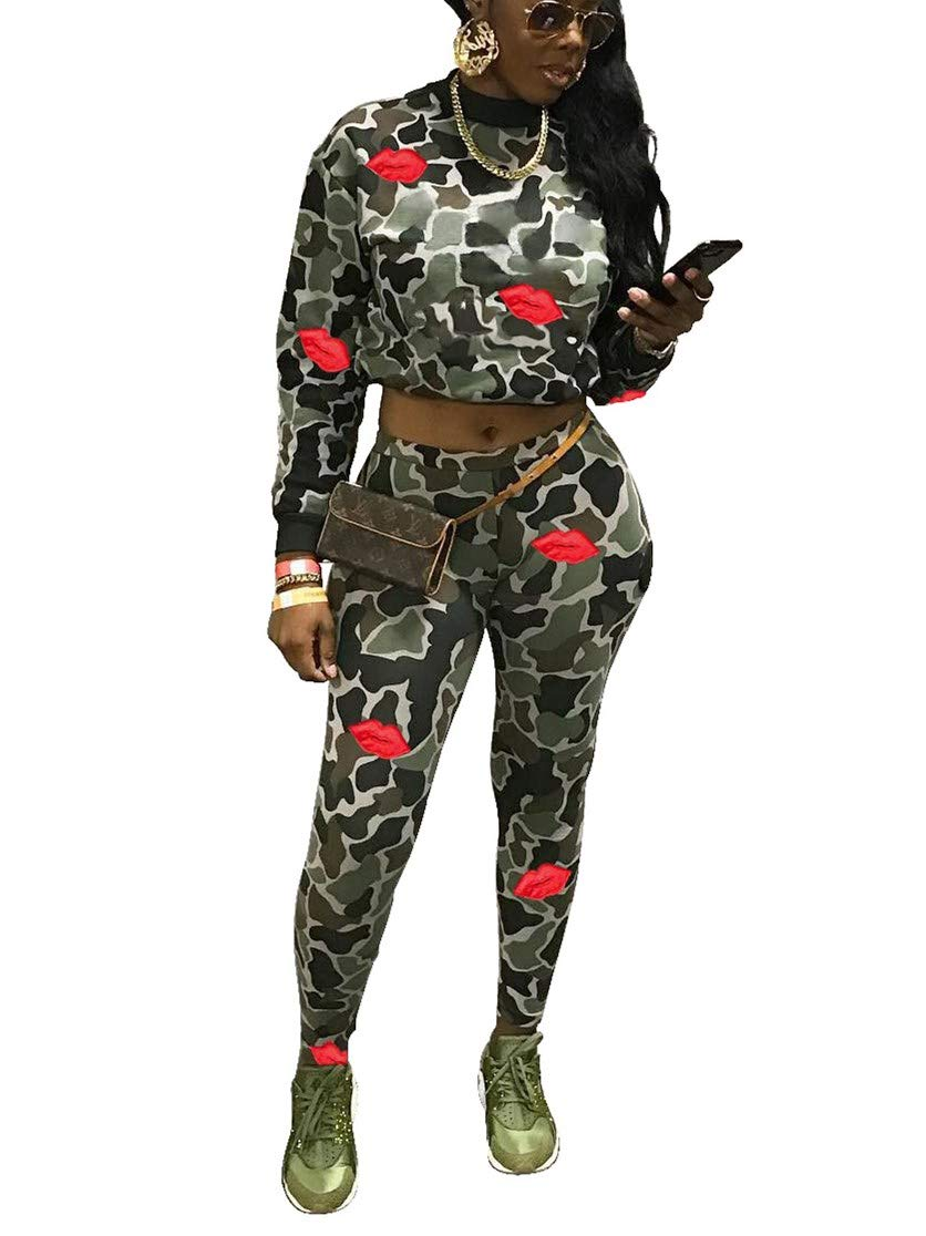Yeshire Women's 2 Pieces Outfit Long Sleeve Crop Top and Pants Sets Crew Neck Street Jumpsuits Tracksuits Small Army Green