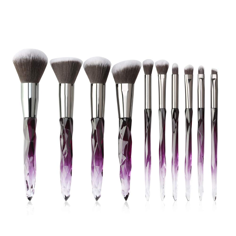 Makeup Brushes Crystal Handle Set, Tenmon 10 PCS Crystal Transparent Handle Kabuki Powder Foundation Brush Concealer Eye Shadow Eyeliner Eyebrow Brush (Purple)