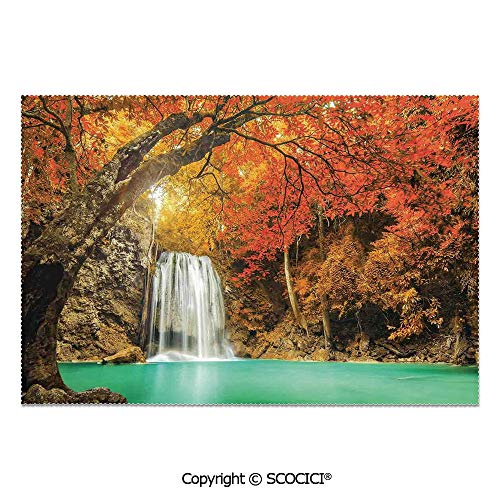SCOCICI Set of 6 Printed Dinner Placemats Washable Fabric Placemats Majestic Waterfall Cascade in Forest Flows Down Crystal Pure Habitat View for Dining Room Kitchen Table Decoration