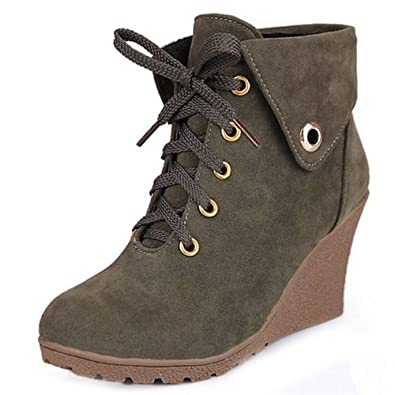 Amazoncom Unm Women Retro Wedges High Heel Short Boots