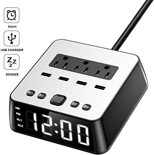 Dual Alarm Clock with USB Charger,Alarm Clock Charging Station Dock with 3 AC Outlets 4 USB Ports Surge Protector, 6ft Extension Cord UL Listed, USB Bedside Alarm Clock for Bedrooms Home Dorm Hotel