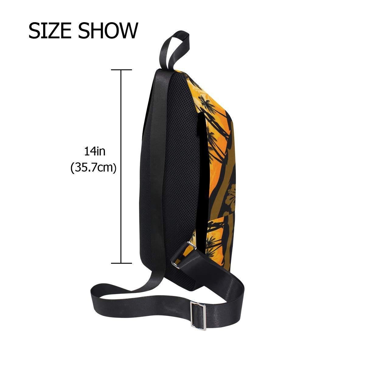 AHOMY Tropical Palm Tree Leaf Flower Messenger Bag Small Travel School Sling Bag Crossbody Bag