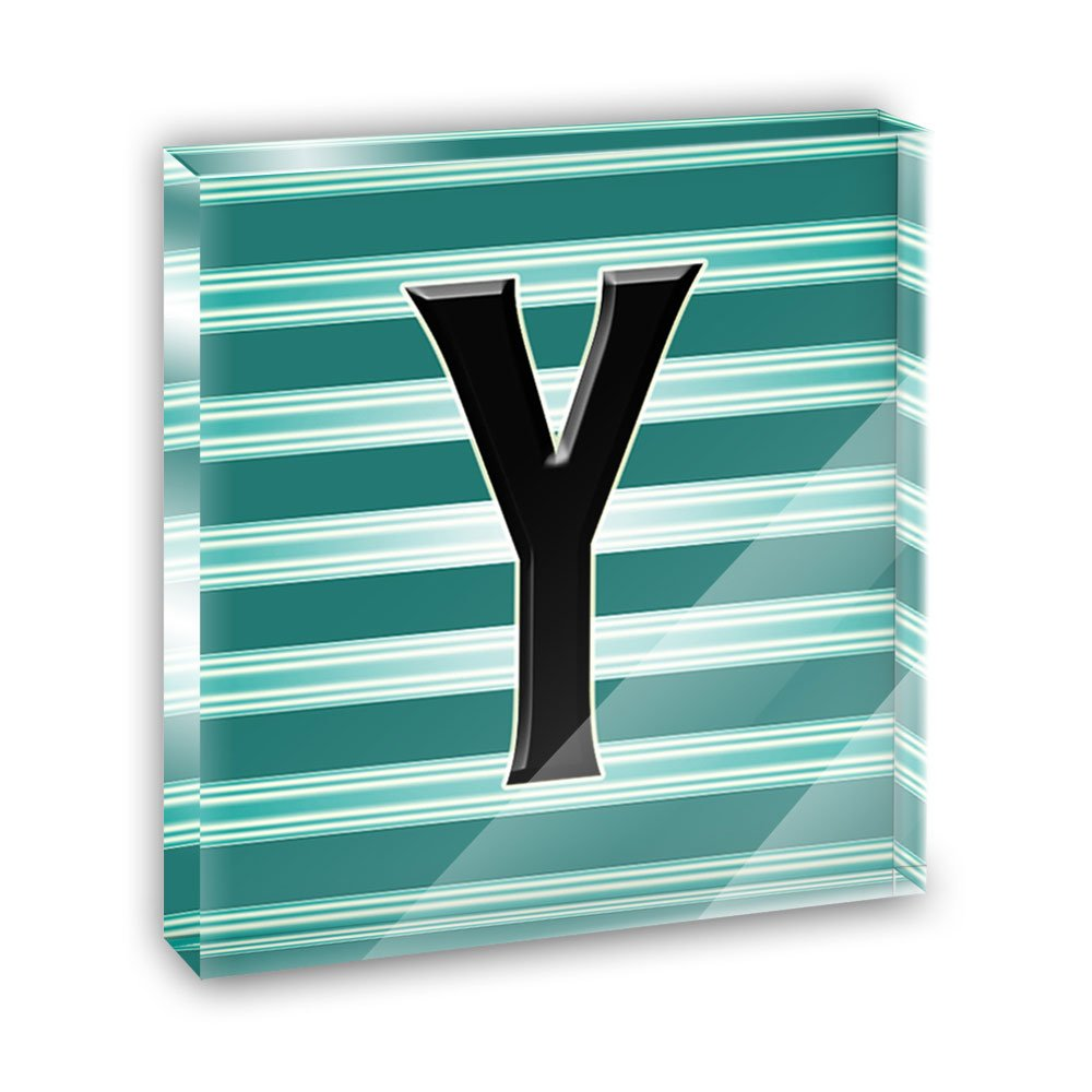 Letter Y Initial Black Teal Stripes Acrylic Office Mini Desk Plaque Ornament Paperweight