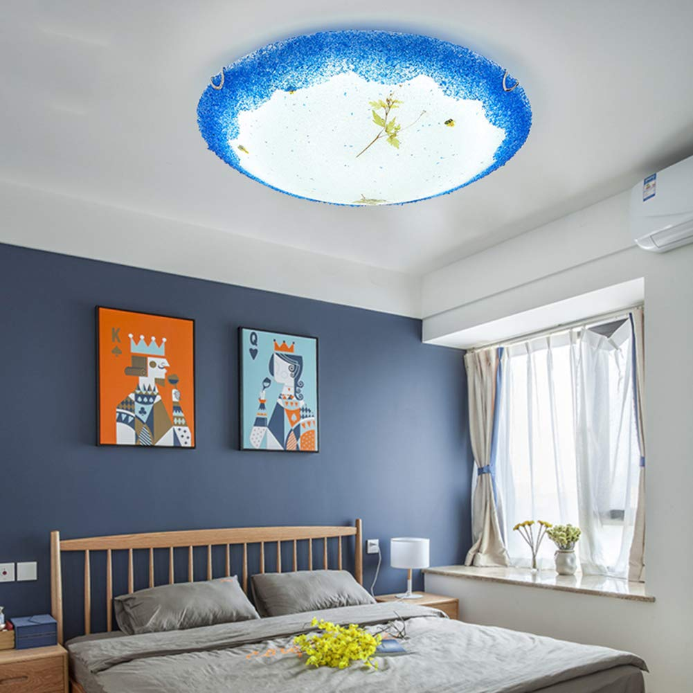 Mediterranean Creative Glass Ceiling Light, LED 36W Modern Tiffany Style Decoration Ceiling lamp for Bedroom Living Room Ceiling Light-Trichromatic dimming-C 50x10cm by CUICAN (Image #4)