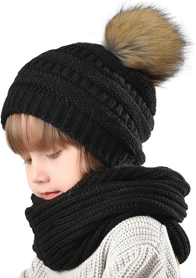 Baby Toddler Boy Girl Double Pom Hat Winter Warm Knit Bobble Beanie Ski Cap Hats