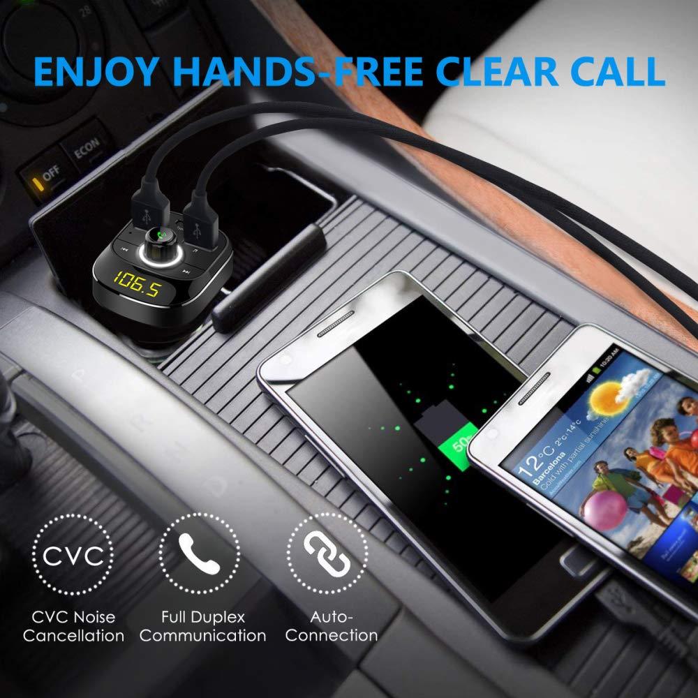 Onizm Wireless Bluetooth FM Radio Adapter Samsung Galaxy Bluetooth FM Transmitter iPad Hands Free Calling for iPhone Dual USB Port /& Type-C Port