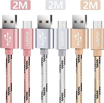 Luvfun [3-Pack] Cable Micro USB, 2m Nylon Micro USB Cable (Oro Rosa+Plata+Oro): Amazon.es: Electrónica