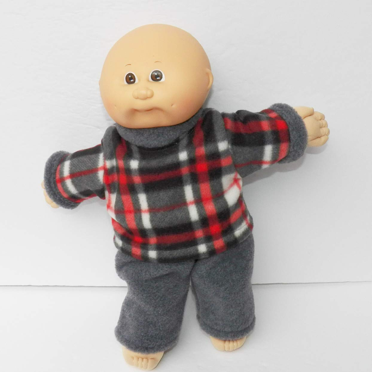 Cabbage Patch Doll Clothes fits 14 Girl or Preemie Red Plaid Check Sweatshirt and Grey Pants