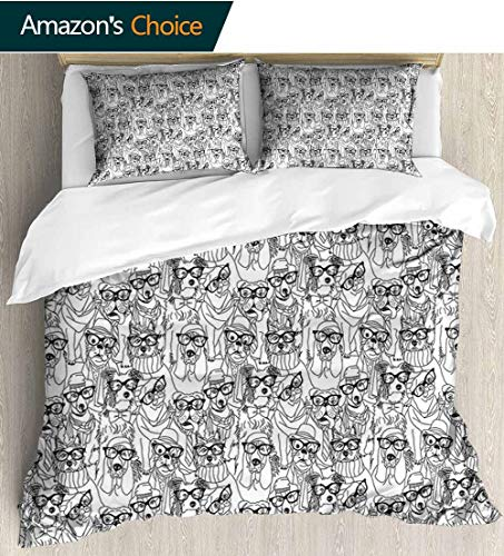 (Dog 3D Bedding Quilt Set,Cute Monochrome Trace Sketch Pugs Bulldog Terrier with Glasses and Hats Hipster Attire Reversible Coverlet,Bedspread,Gifts for Girls Women 87