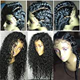 Freyja 8A 360 Lace Frontal Human Hair Wigs for Black Women Pre Plucke Hairline Curly Wave 150% Density Remy Hair Lace Wigs with Baby Hair(10 inch,1B)