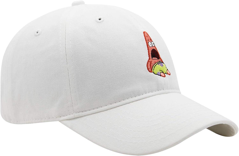 Spongebob Squarepants Mens Baseball Hat - Spongebob, Patrick & Krusty Krab Logo Curved Brim, Adjustable Cap - (Unisex, White): Clothing