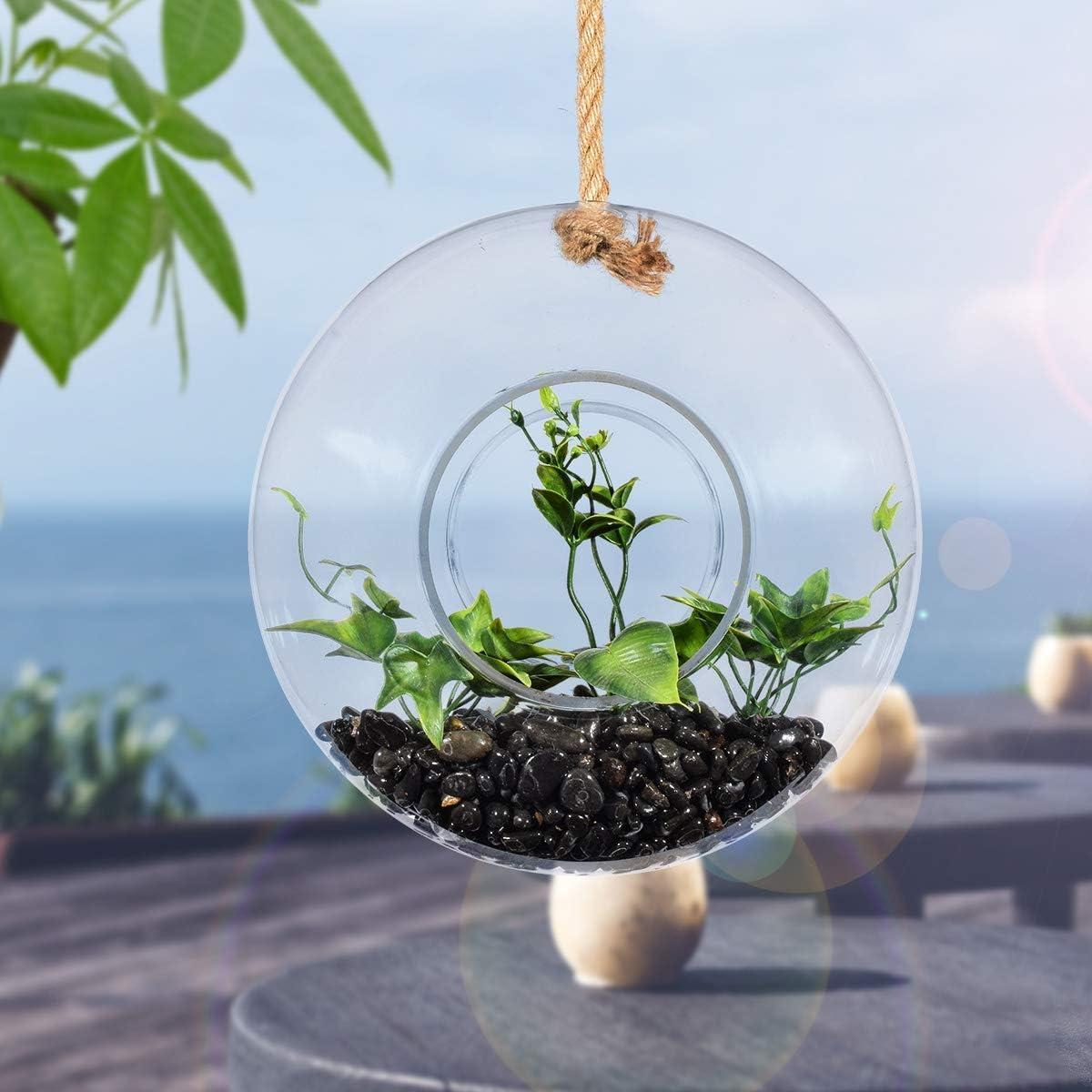 Lot de 3 en pot artificielle succulent Hanging terrarium avec faux air Plante Vase