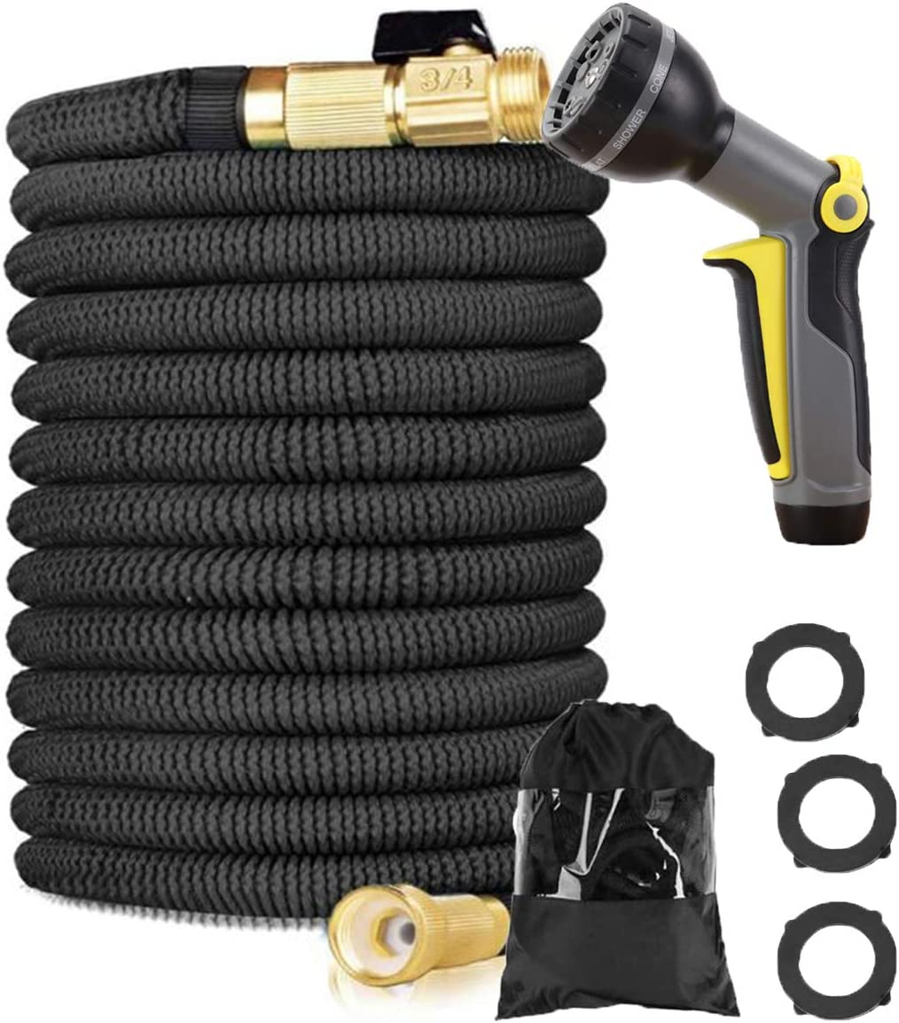 150ft Expandable Garden Hose, 9 Function Sprinkler, Heavy Duty Flexible Expanding Water Hose, Garden Water Hose with Pure Brass Interface (Valve), Best (Black) Choice for Watering and Washing