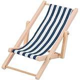 Miniature Chaise Longue en Bois Transat Motif Rayure Pour 1/12 Maison de Poupée -Blanc et Bleu