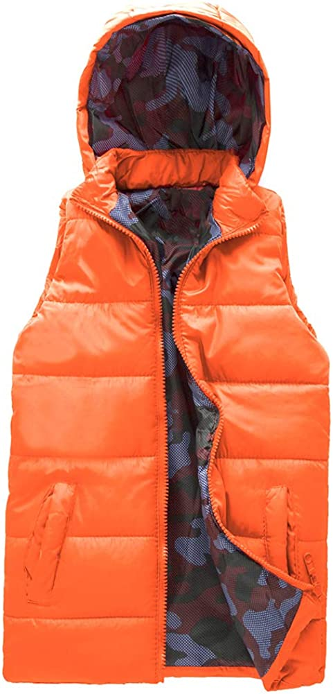 SNOW DREAMS Boys Hood Puffer Quilted Vest Camo Print Lined Zipper Waistcoat/…