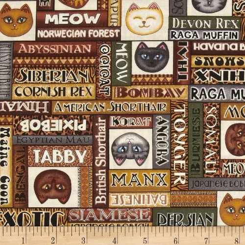 (Cat Fabric - Wild Cats by Dan Morris - Cat Breed Names & Faces - 100% Cotton - By The Yard)