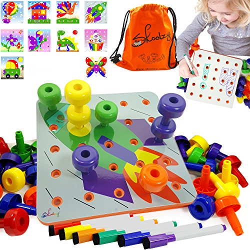 - Skoolzy Toddler Educational Toys - Peg Puzzles Toddler Toys for Kids Ages 1yr - 4yr. Stacking Pegboard Creative Art for 1, 2, 3, 4 Year Old Boys or Girls | 45pc Peg Board, Pens Cards