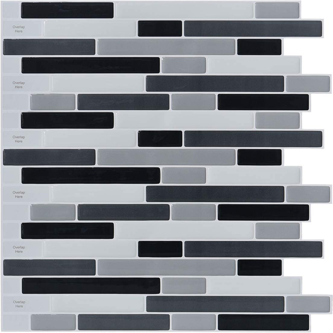 Amazon Com Longking 10 Sheets Peel And Stick Backsplash Tile 3d Self Adhesive Tile Stickers For Kitchen Bathroom Counter Top Mirror Background Grey Black White Home Kitchen