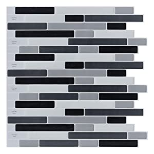 LONGKING 10-Sheets Peel and Stick Backsplash Tile, 3D Self-Adhesive Tile Stickers for Kitchen, Bathroom, Counter Top, Mirror Background, Grey-Black-White