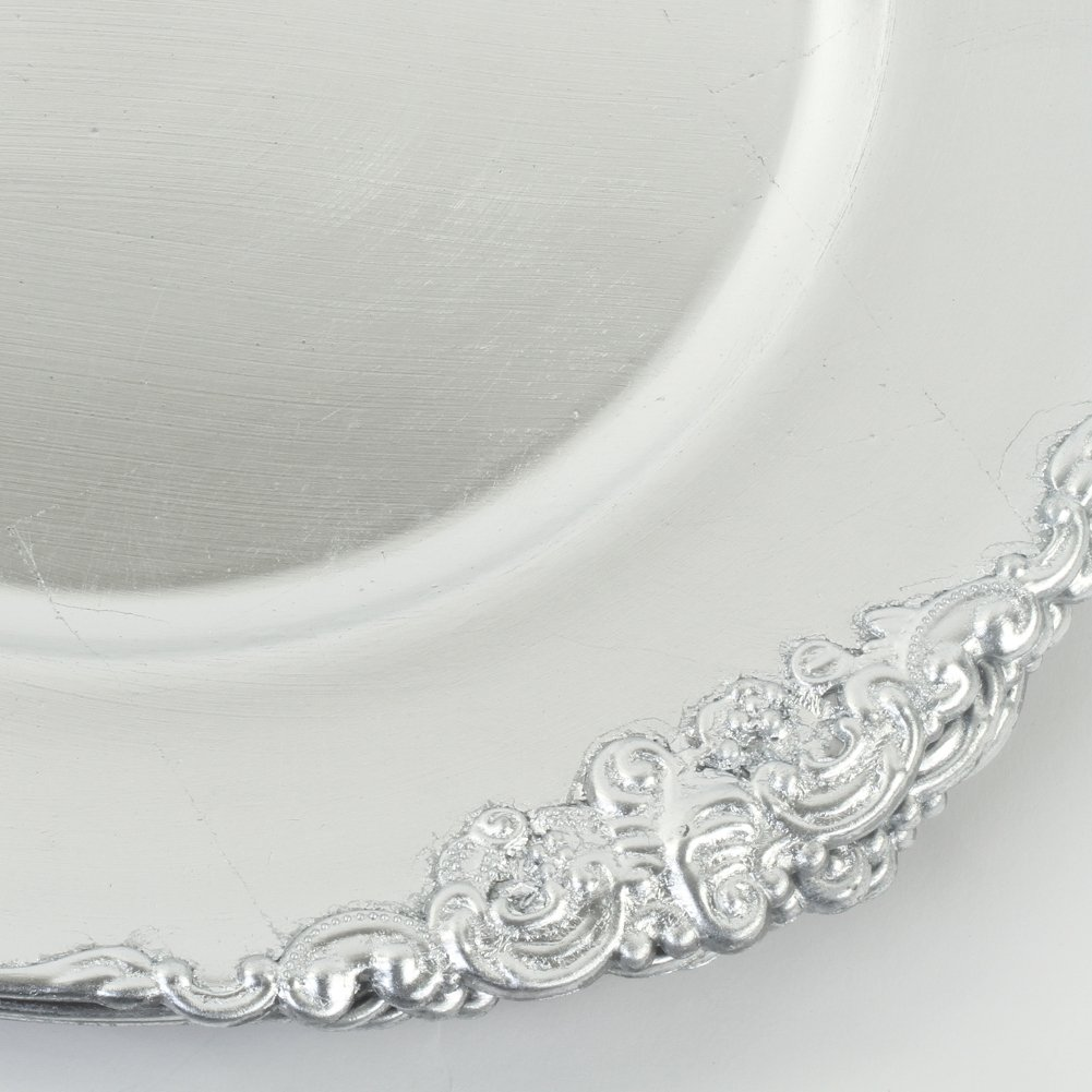 Koyal Wholesale Vintage Charger Plate, Silver (Pack of 4)