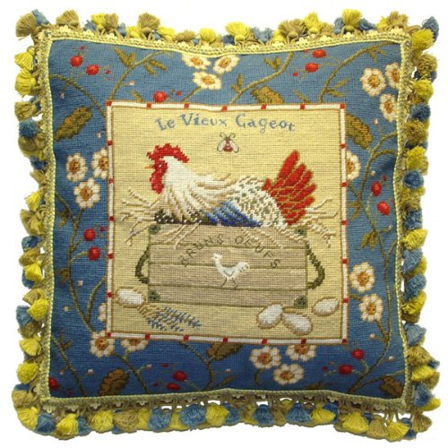 Framed Chicken Facing Left and Eggs - 21 x 21 in. needlepoint pillow ()