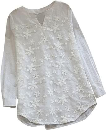 PAOLIAN Blusa Lino de Mujer Manga Largas Otoño 2018 Blusa Moda Señora Escote V Asimetricas Camisetas Costura Floral Ropa para Mujer Fiesta Camisa Blancas Ancho Tallas Grandes: Amazon.es: Ropa y accesorios
