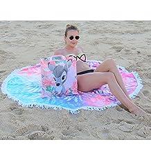 Winthome Mandala Super Soft Microfiber Roundie Towel Circle Beach Towel Beach Blanket/Throw Round Beach Towel with Tassels Diameter 60'' (Colorized Tie Dye, Microfiber 60inch)