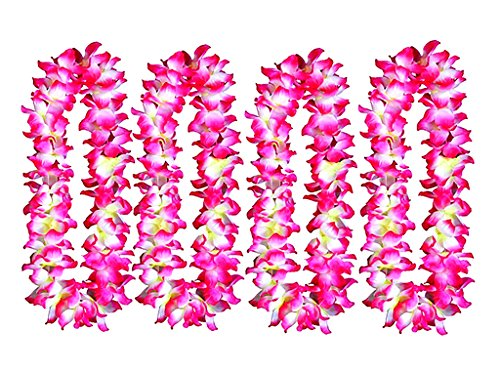 ALIMITOPIA 4pcs Hawaiian Hula Leis Dance Garland Artificial Flowers Neck Loop for Luau Party Costumes (Pink,Thickened) -