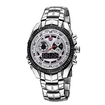 SPORTWATCHES Relojes Hermosos, TVG Reloj de Cristal con dial Redondo Ventana Luminosa y Alarma y