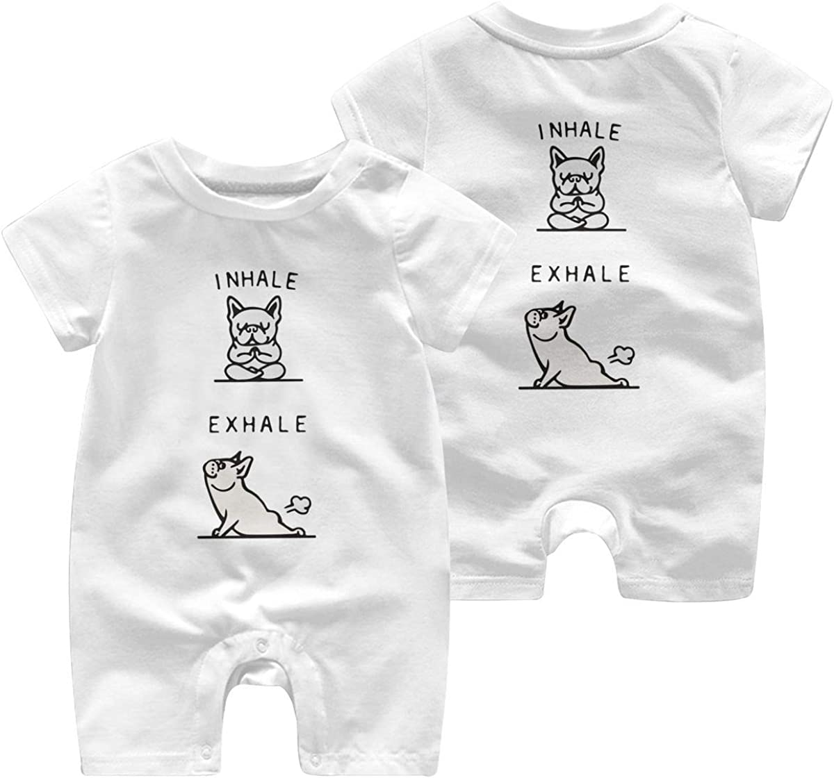 Mri-le1 Baby Girl Coverall Inhale Exhale French Bulldog Baby Clothes