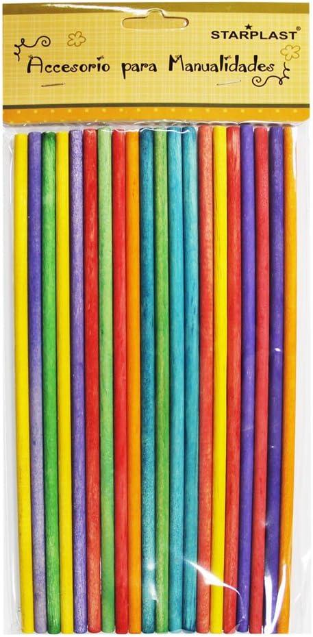 Pack de 120 palitos de madera redondos especial para manualidades 131658 colores variados tama/ño 20x0,5cm