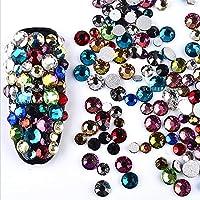 ICYCHEER Nail Art Rhinestones 2mm-6mm Resin Crystal AB Round Flat Bottom Gems,Mix Shape,Gemstones,300 piece,3D Nail Diamond Decoration Manicure (01)