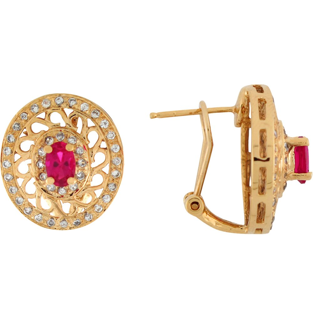 14k Yellow Gold Simulated Ruby White CZ Ornate French Clip Earrings