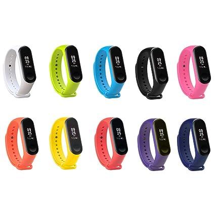 Sunshine D 10 Piezas Correa De Reloj De Silicona Impermeable para Pulsera Xiaomi Mi Band 3 Reemplazo, 10 Colores