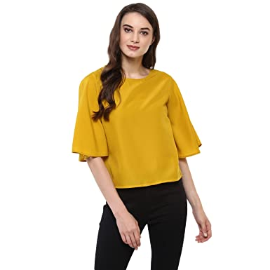 Zoys Womens Mustard Yellow Color Crepe Top Amazonin Clothing
