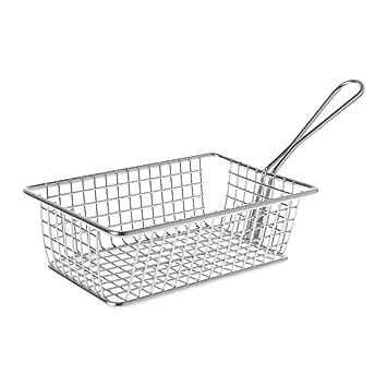 Bhty235, cesta freidora profunda de acero inoxidable francés freidora cesta de malla cocina patatas fritas aperitivos cocina herramienta: Amazon.es: Hogar