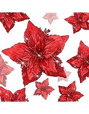 Julblommor, 9 stycken stora glitter julstjärnor med klämmor konstgjorda julblommor julgransprydnader julstjärna för gör-det-själv-hantverk jul bröllop fest nyår dekorationer röd