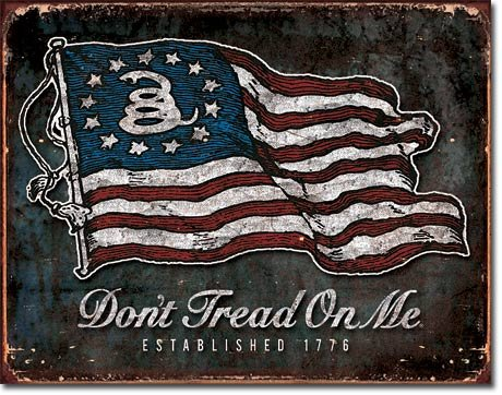 Tin Flying Sign (Collectible Badges Don't Tread On Me - American Flag Tin Sign 16 x 13in)