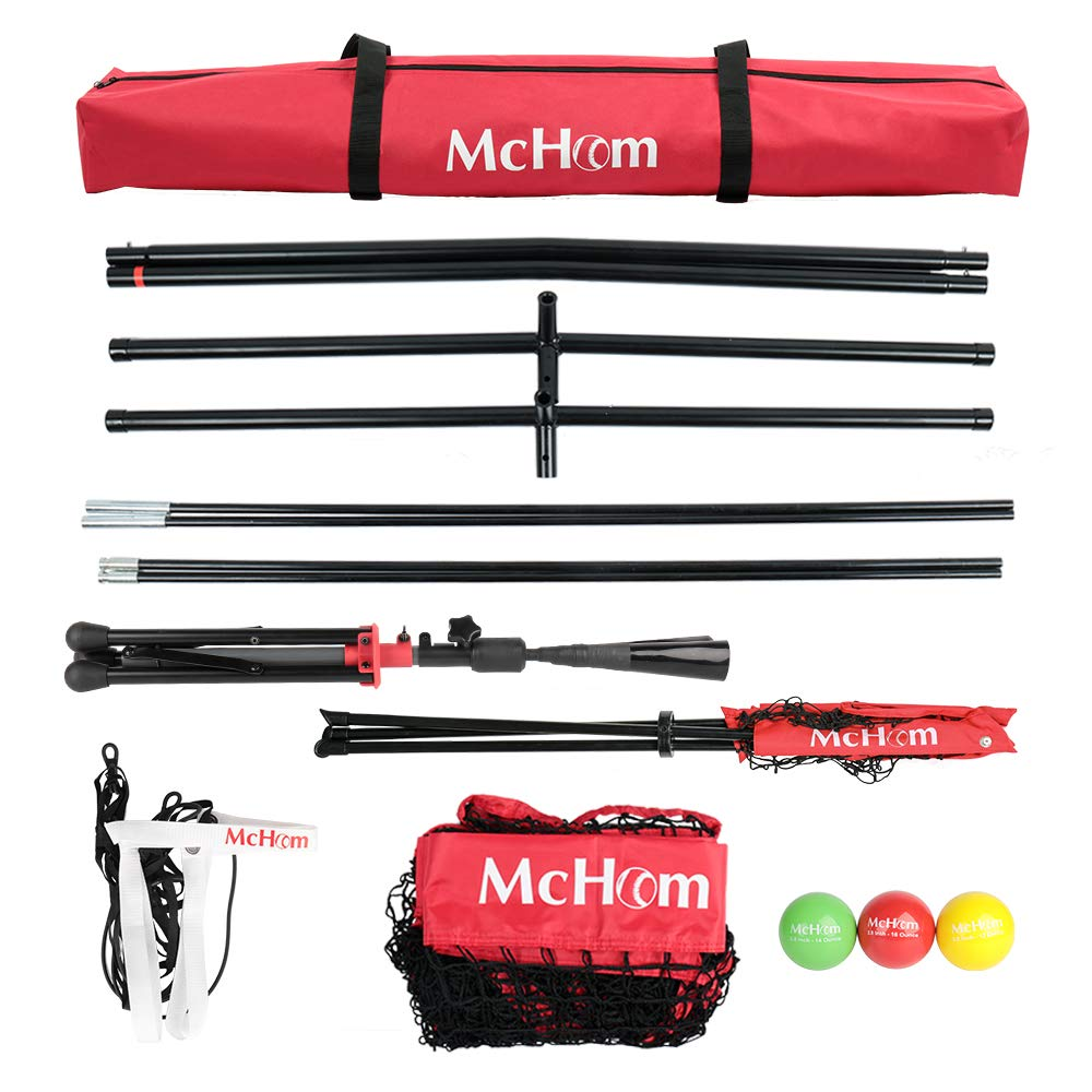 3 Weighted Balls McHom 7 x 7 Baseball /& Softball Net Set with Travel Tee Collapsible and Portable Strike Zone /& Carry Bag for Hitting /& Pitching Practice