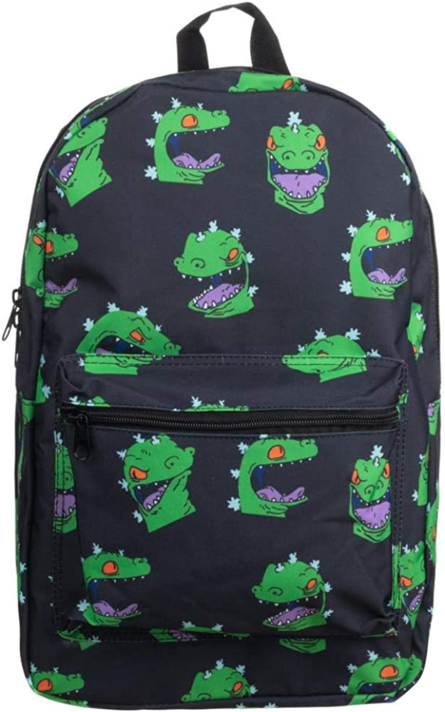 Rugrats 90s Cartoon Reptar Expressions Black Backpack