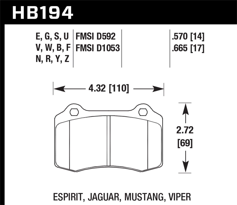 Hawk Performance HB194B.665 Street Brake Pads